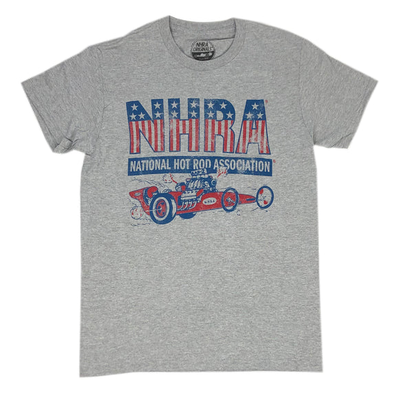 NHRA National Hot Rod Association Red White & Blue Drag Racing Men's T Shirt - tshirtconnect
