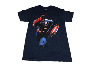 Marvel Men's T Shirt Captain America Blood Splatter Shield Charge - tshirtconnect