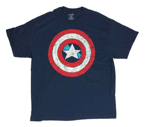 Marvel Comics Captain America Men's T Shirt Distressed Rugged Shield Logo - tshirtconnect