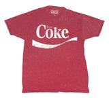 Coca-Cola Men's T Shirt Coke Original Logo Soft Faded Burnout Graphic Tee