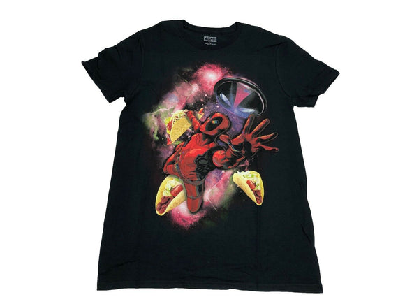 Marvel Men's T Shirt Deadpool Floating In Outer Space Tacos Psychedelic Graphic - tshirtconnect