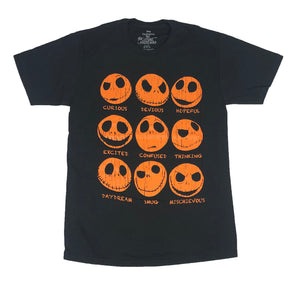 Men's Disney T Shirt Nightmare Before Christmas Jack Skellington Expressions Tee