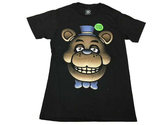 Five Night's At Freddy's Men's T Shirt Fazbear Creepy Big Face Glow In The Dark - tshirtconnect