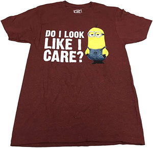 Disney Men's T Shirt Minions Despicable Me Do I Look Like I Care Graphic Tee - tshirtconnect