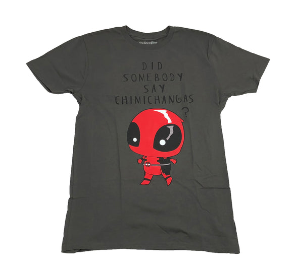 Marvel Men's T Shirt Deadpool Kawaii Did Someone Say Chimichangas Graphic Tee