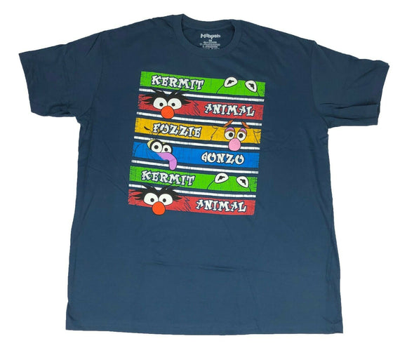 Disney The Muppets Men's T Shirt Kermit Gonzo Animal Fozzie Distressed Logos - tshirtconnect