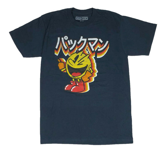 Pacman Men's T Shirt Kanji Logo Japanese Writing Retro Video Game Graphic Tee - tshirtconnect