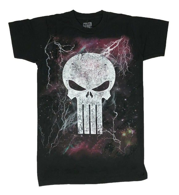 Marvel The Punisher Men's T Shirt Lightning Skull Graphic Tee - tshirtconnect