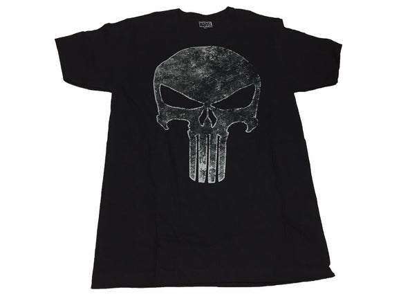 Marvel Punisher Faded Silver Skull Logo War Zone Frank Castle Men's T Shirt - tshirtconnect