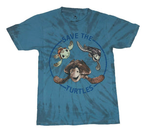 Disney Men's T Shirt Finding Nemo Save The Turtles Tie Dye Graphic Tee Disneyland - tshirtconnect