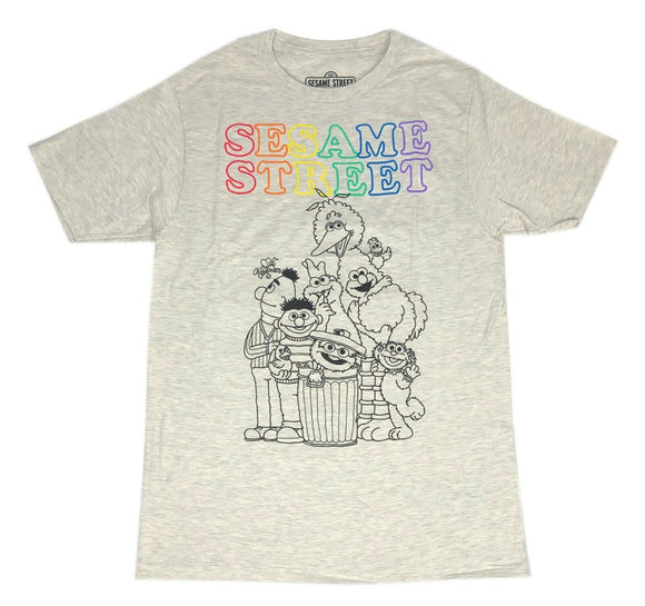 Sesame Street Men's T Shirt Rainbow Logo High Quality Short Sleeve Graphic Tee - tshirtconnect