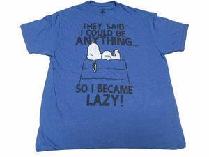 Peanuts Men's T Shirt Snoopy They Said I Could Be Anything So I Became Lazy - tshirtconnect