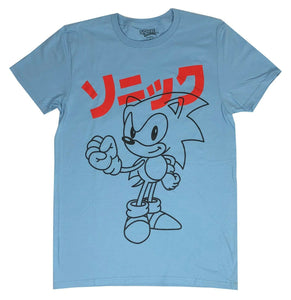Sonic The Hedgehog Kanji Logo Men's T Shirt Retro Sega Graphic Tee - tshirtconnect