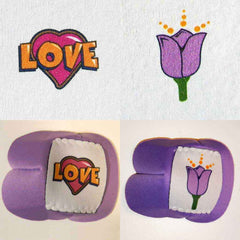 Eye Patches with Love and Tulip design. Made by Patch Works FLP.