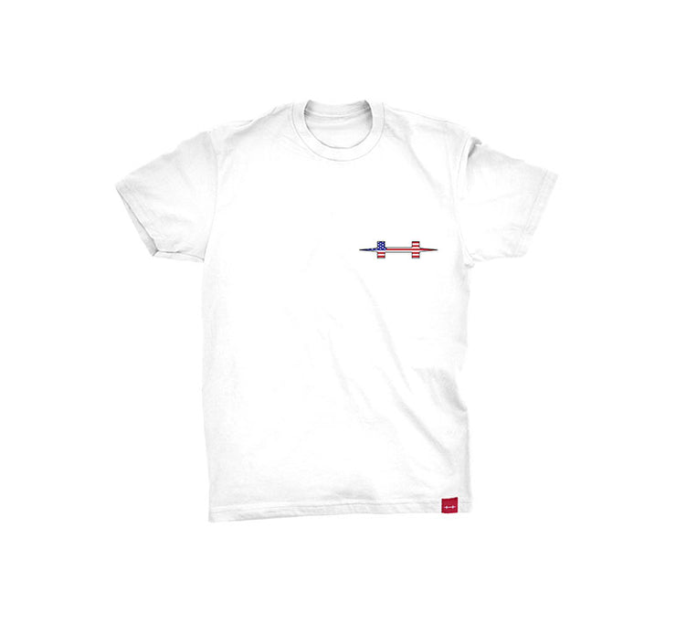 "<img src=""FlyShopFlagTeeWhite_Front"" alt=""white tee shirt with red white and blue h logo on the left chest"">"
