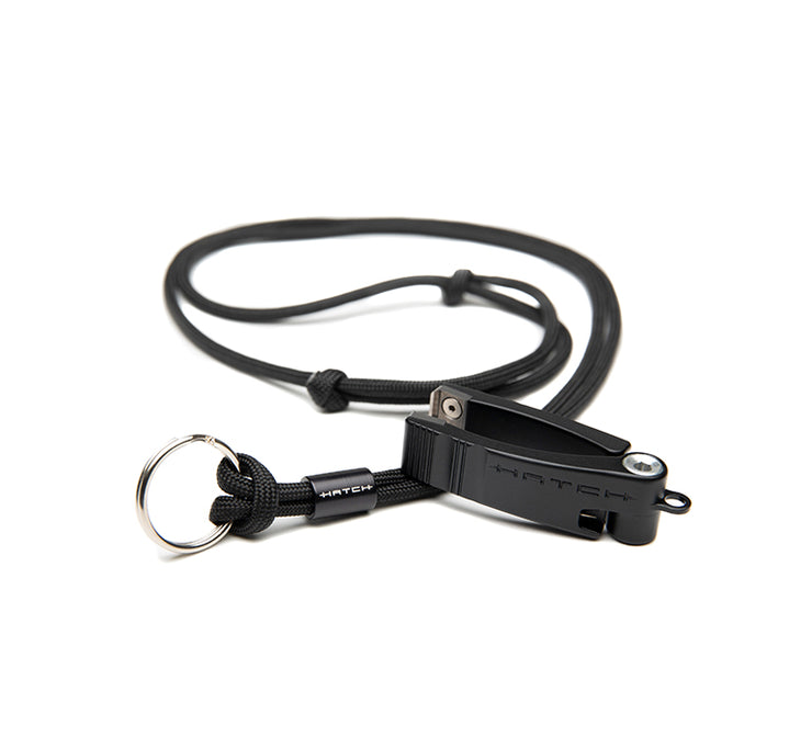 Black hatch nipper 2 with black cord lanyard