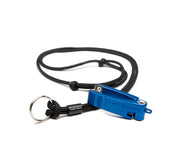 Blue  hatch nipper 2 with black cord lanyard