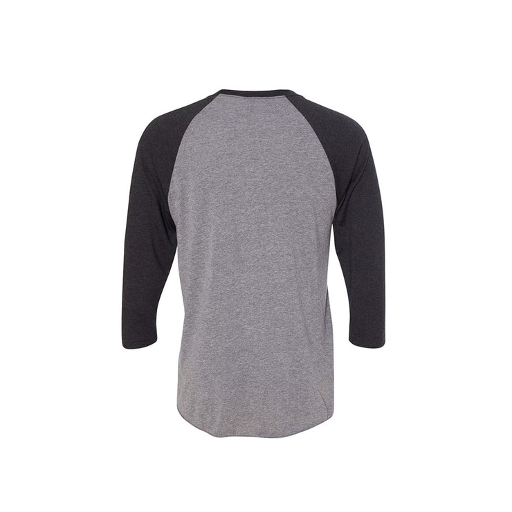 Grey heather baseball tee with black logo and black half sleeves