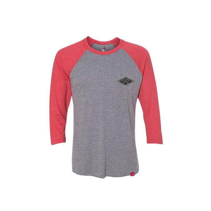 Grey heather baseball tee with black logo and red half sleeves