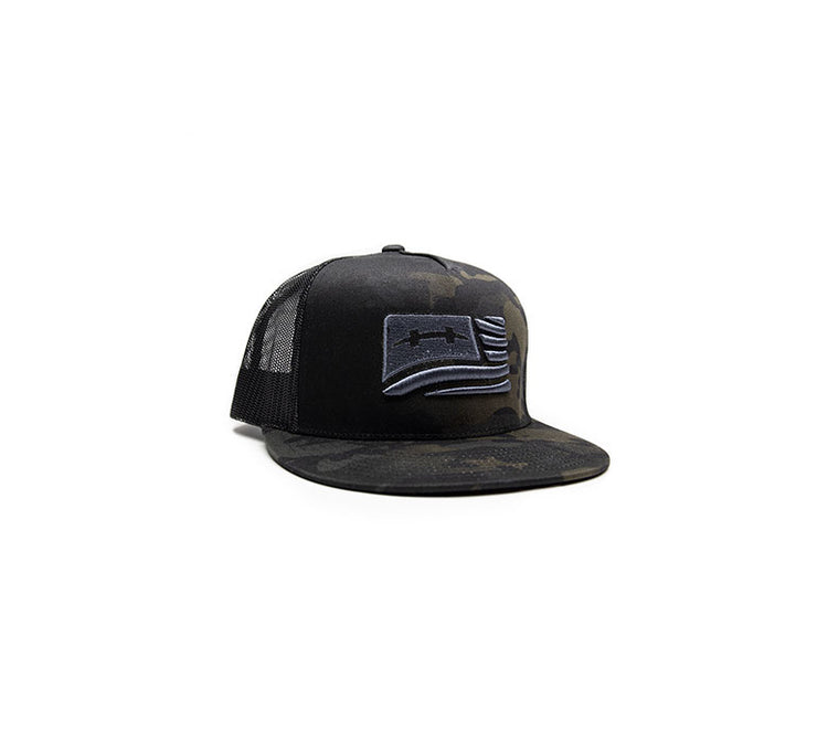 "<img src=""HatchCamoFlagHat_Black1"" alt="" black mesh trucker hat with black and dark green camouflage pattern and silver american flag on front"">"