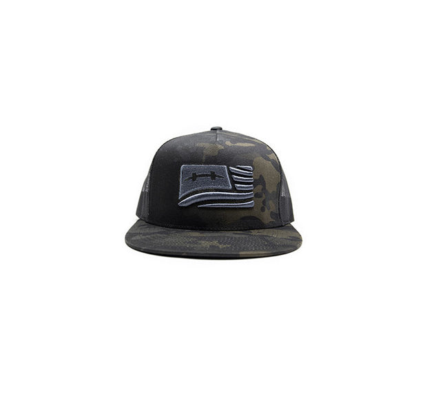 "<img src=""HatchCamoFlagHat_Black2"" alt="" black mesh trucker hat with black and dark green camouflage pattern and silver american flag on front"">"