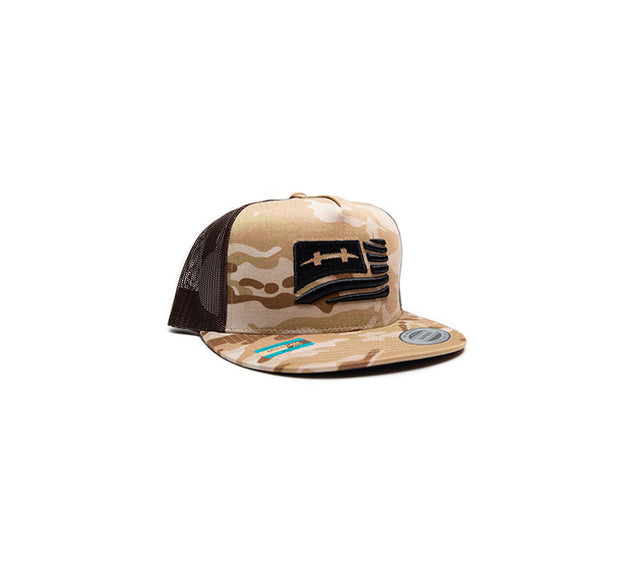 "<img src=""HatchCamoFlagHat_Sand1"" alt=""dark brown mesh trucker hat with sand brown camouflage pattern and black american flag on front"">"