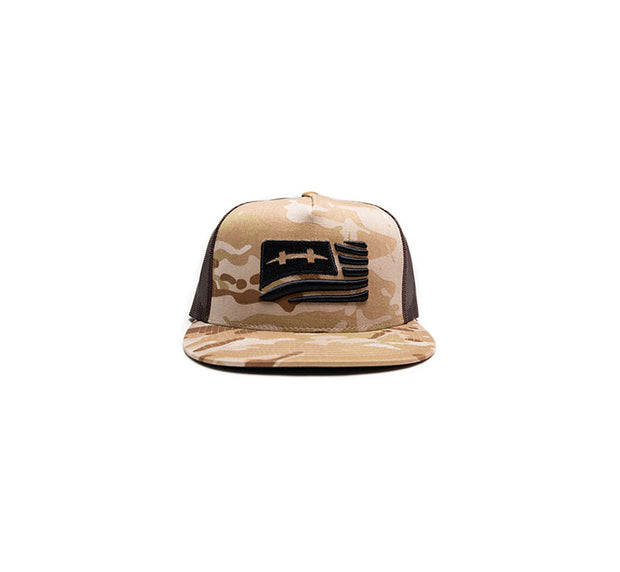 "<img src=""HatchCamoFlagHat_Sand2"" alt=""dark brown mesh trucker hat with sand brown camouflage pattern and black american flag on front"">"
