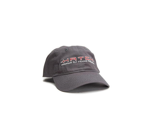 "<img src=""HatchGreyLogoHat.jpg"" alt=""garment washed pre-formed gray baseball cap with red and white hatch logo"">"
