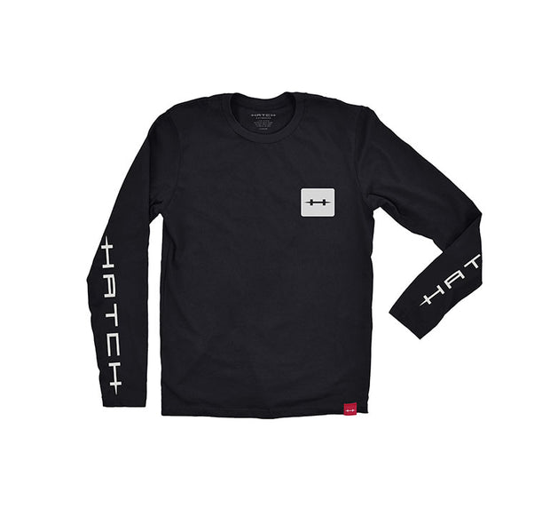 "<img src=""HatchPerformanceTee_Black.jpg"" alt=""black long sleeved tee with white square hatch logo on chest"">"