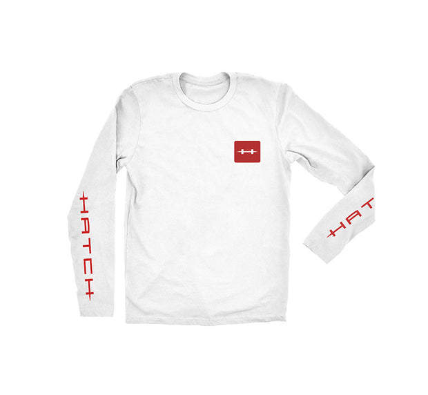 "<img src=""HatchPerformanceTee_White.jpg"" alt=""white long sleeved tee with red square hatch logo on chest"">"