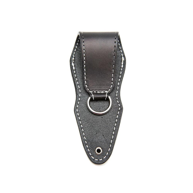 black custom stamped leather sheath with white stitching