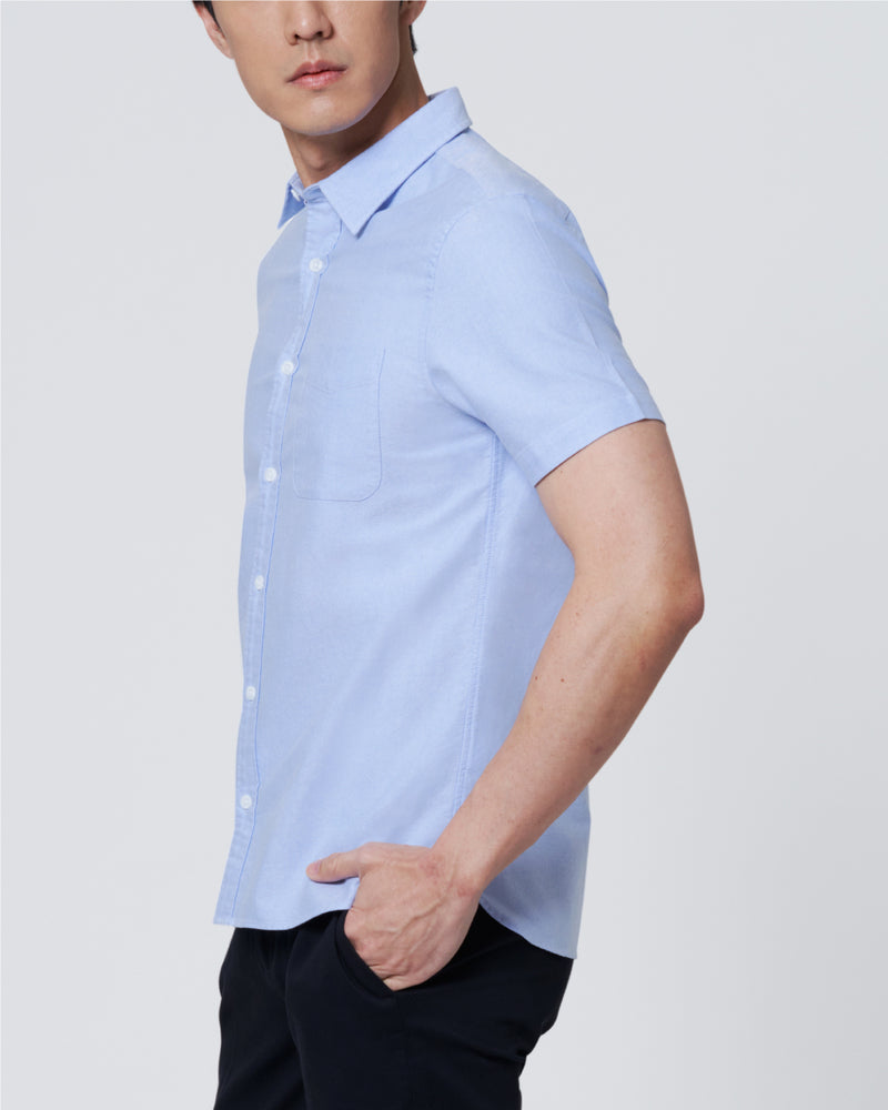 Men Oxford Regular Fit Short Sleeve Semi-Cut Collar