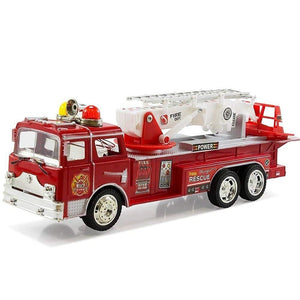 12 Rescue Fire Truck With Extending Ladder Lights & Siren Sounds