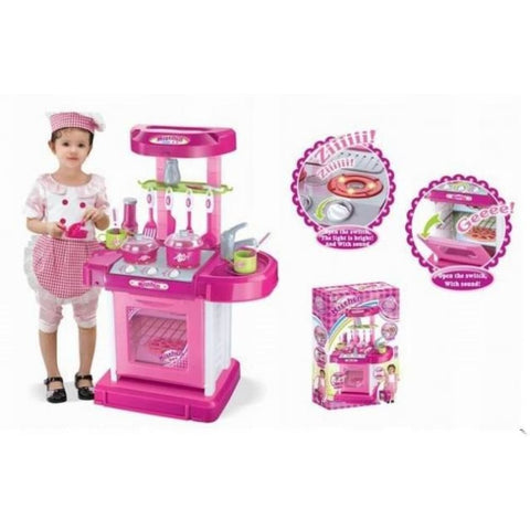 26 Portable Kitchen Appliance Oven Cooking Play Set With Lights & Sound (Pink)