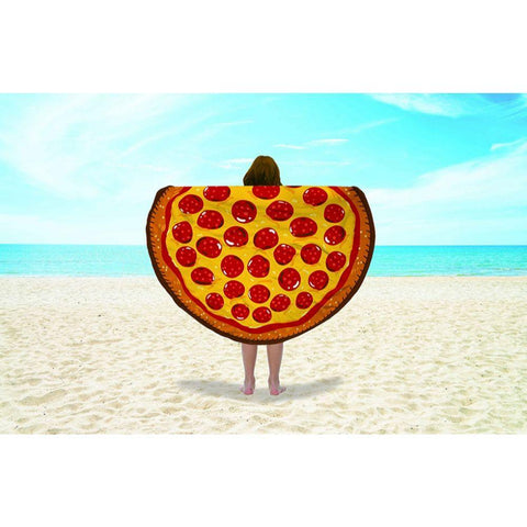 Round Shape Pizza Beach Towel