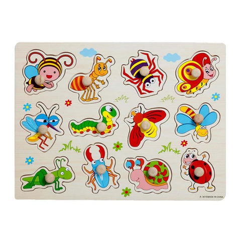 Image of Babies And Kids Wood Jigsaw Puzzle Educational Puzzle Toys (insects Learning) - Toy