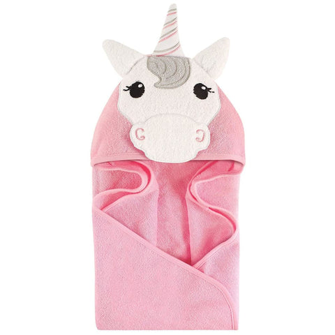 Image of Baby Animal Face Hooded Towel - Unicorn