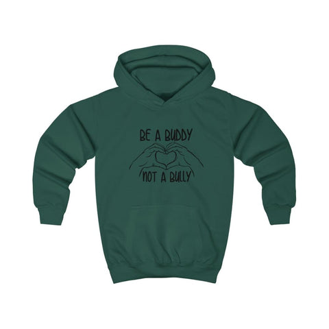 Image of Be A Buddy Not A Bully Kids Hoodie - Bottle Green / XS - Kids clothes