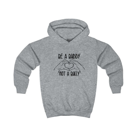 Be A Buddy Not A Bully Kids Hoodie - Heather Grey / XS - Kids clothes