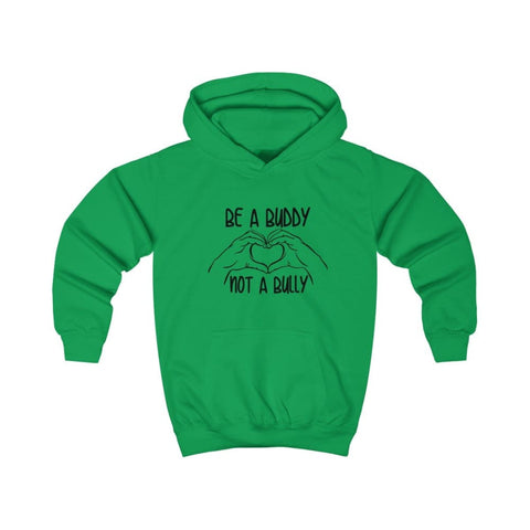 Image of Be A Buddy Not A Bully Kids Hoodie - Kelly Green / XS - Kids clothes
