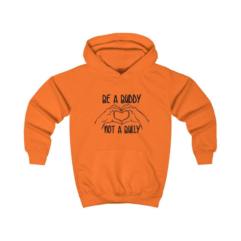 Image of Be A Buddy Not A Bully Kids Hoodie - Orange Crush / XS - Kids clothes
