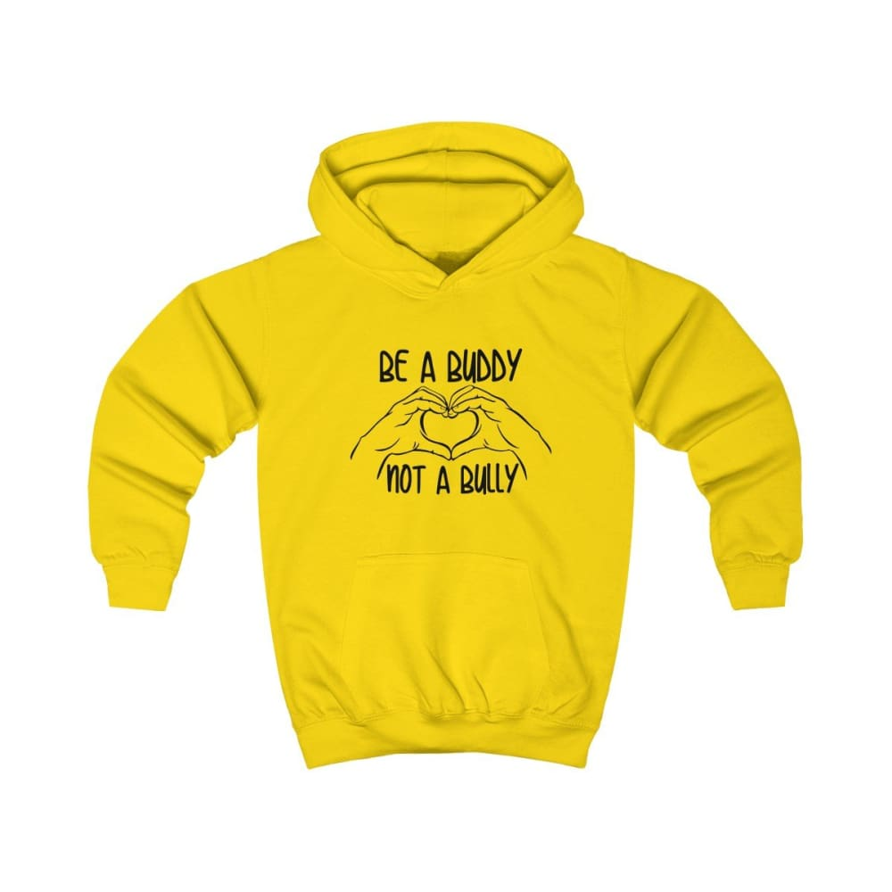 Be A Buddy Not A Bully Kids Hoodie - Sun Yellow / XS - Kids clothes