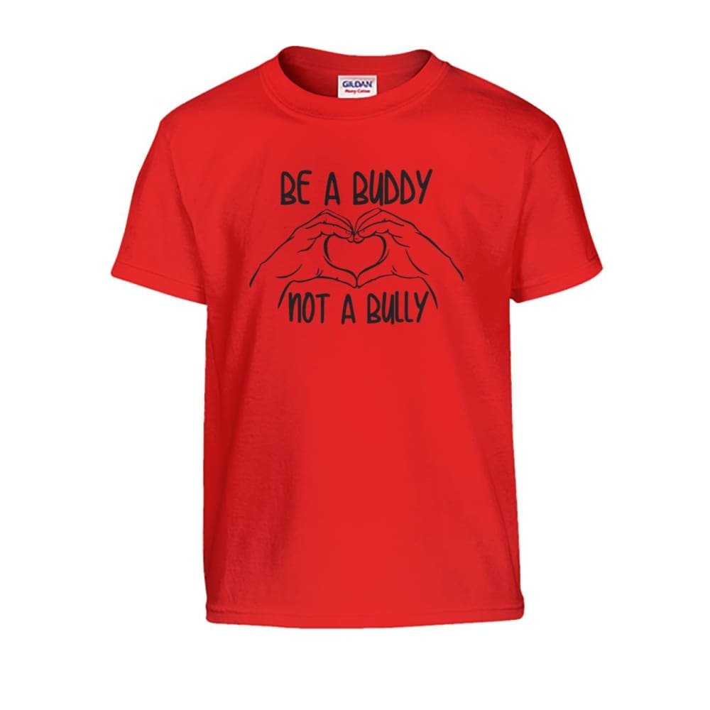 Be A Buddy Not A Bully Kids Tee - Red / S - Kids