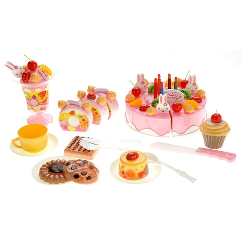 Birthday Cake 75pcs Pretend Play Food Toy Set (Pink)