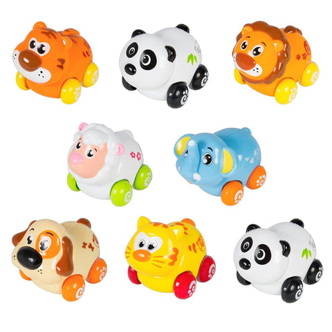 Cartoon Animals Friction Push And Go Toy Cars Play Set (Set of 8) Panda Cat Elephant Dog Lion Tiger and Sheep