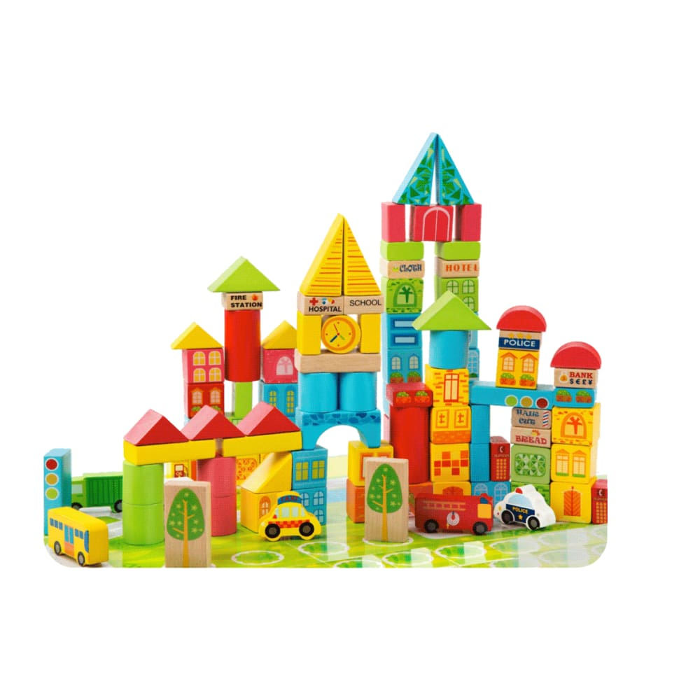 City Transportation Wooden Building Blocks 100 pc