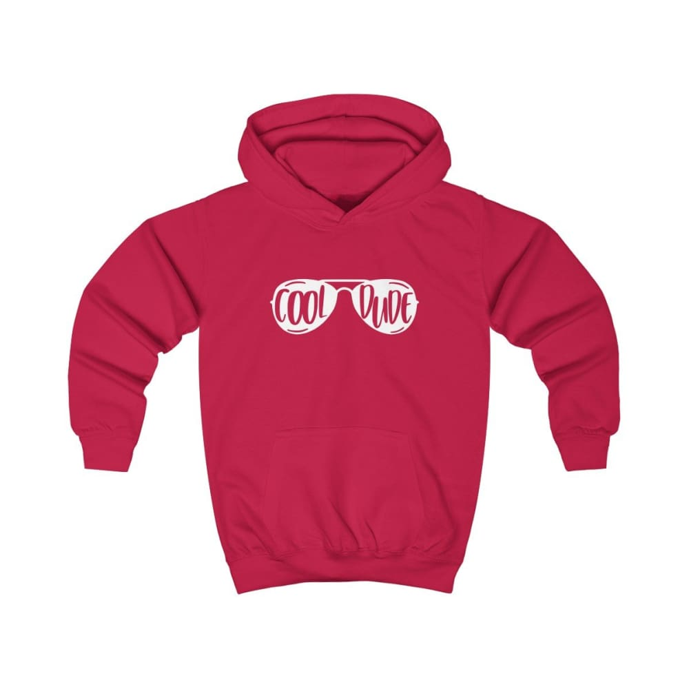 Cool Dude Kids Hoodie - Fire Red / XS - Kids clothes