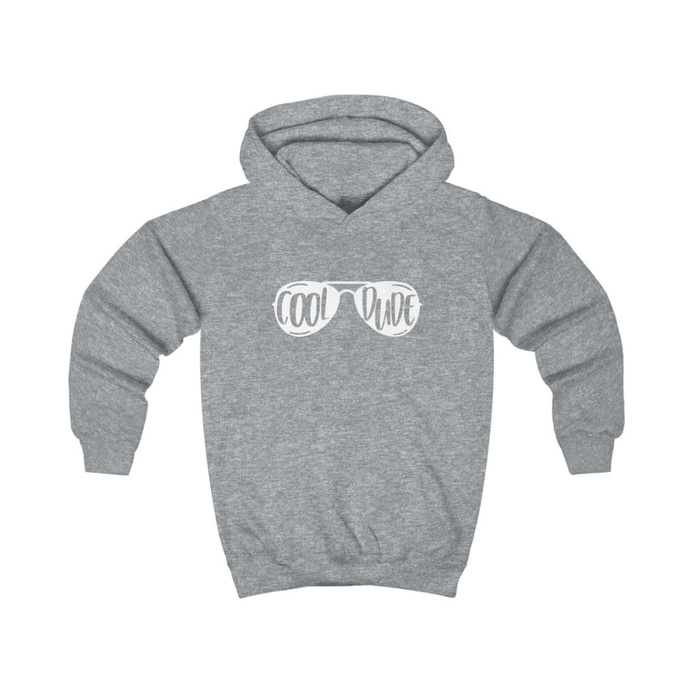 Cool Dude Kids Hoodie - Heather Grey / XS - Kids clothes