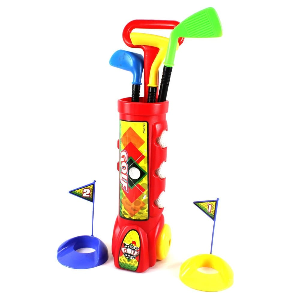 Deluxe Kids Happy Golfer Toy Golf Set With 3 Golf Balls 3 Types of Clubs & 2 Practice Holes red