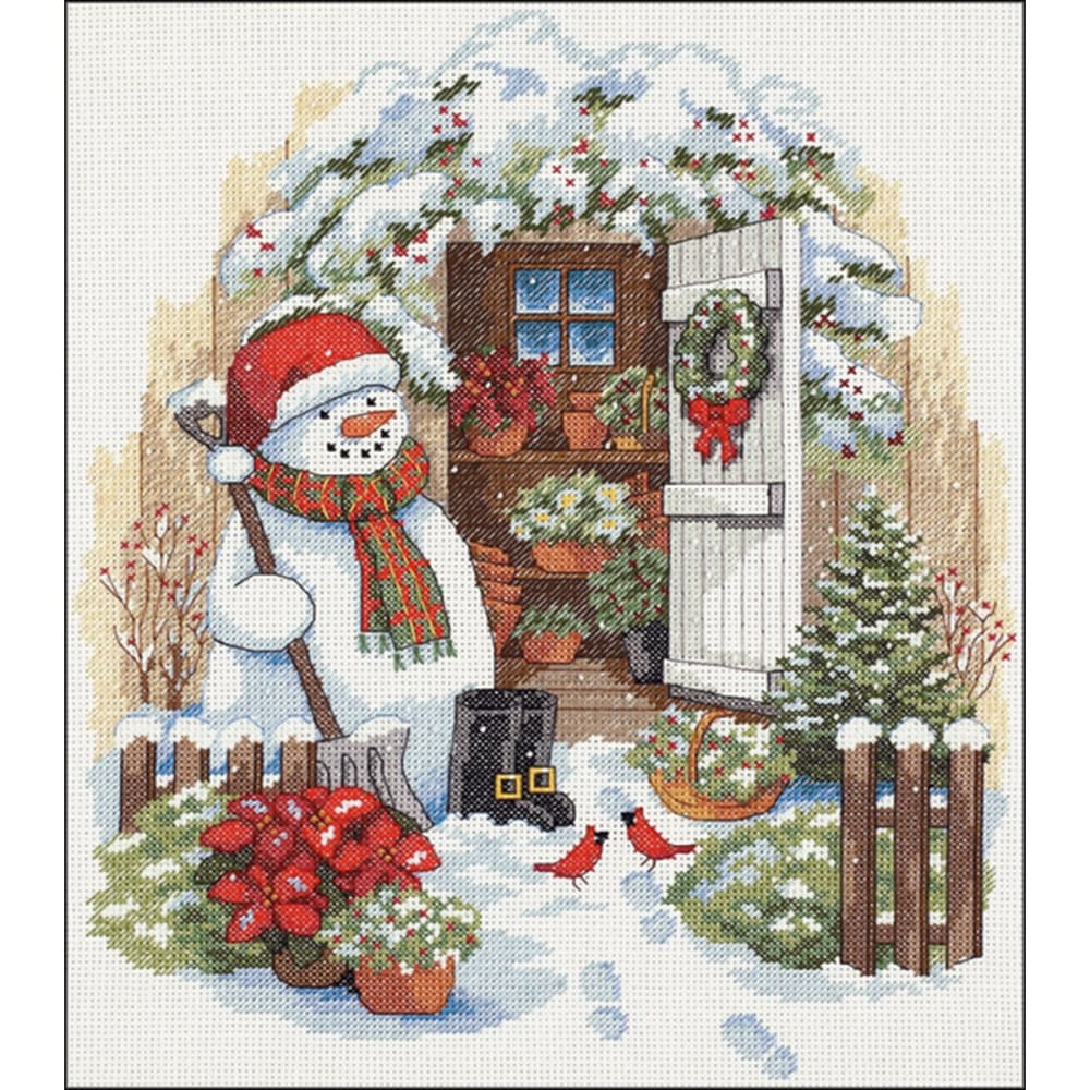 Dimensions Counted Cross Stitch Kit 12x14-garden Shed Snowman (14 Count) - Craft sewing & hobby